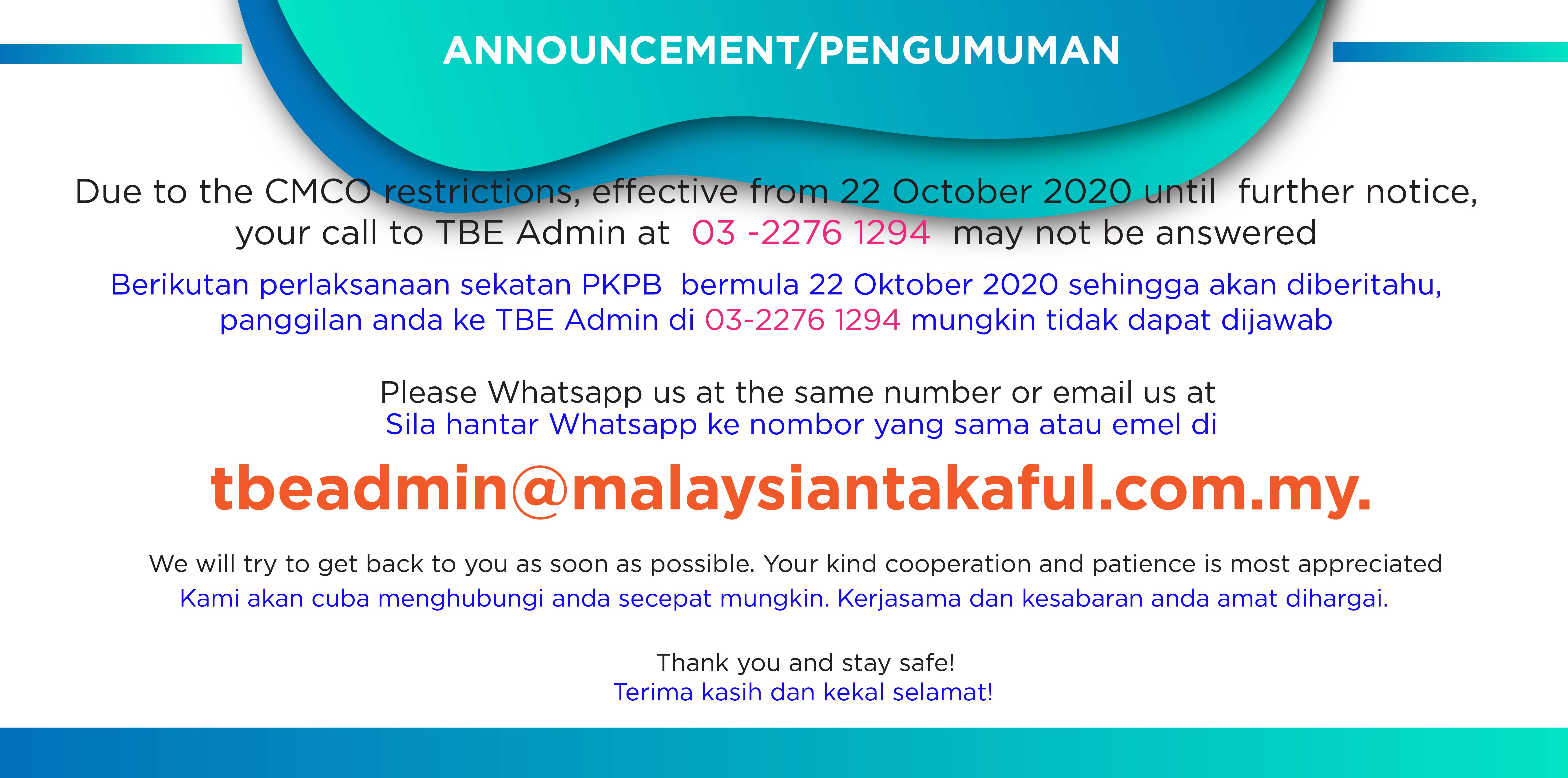 Takaful Basic Examination Announcement Revised